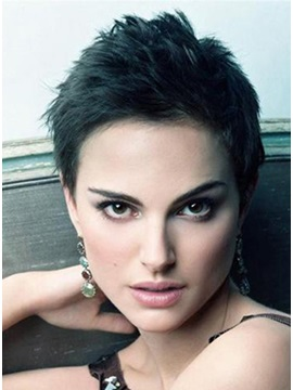 Short Pixie Cut 100 Human Hair Glueless Full Lace Wig About 4 Inches