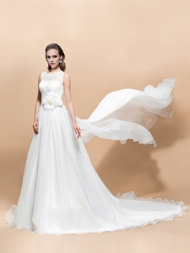 A Line Lace Flower Scoop Neck Court Train Wedding Dress