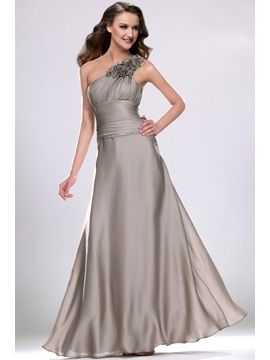 Simple Style Floral One Shoulder A Line Long Bridesmaid Dress