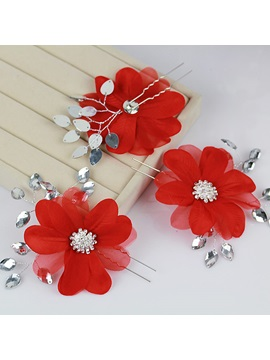 Luxurious Handwork Rhinestone Red Flower Wedding Accessories Bride Hairpin