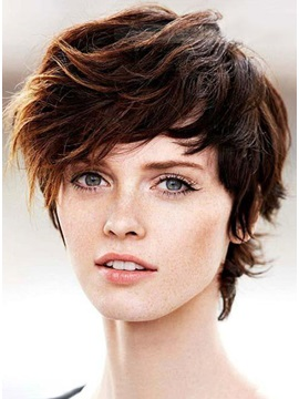 Popular Short Shaggy Bob Haircut 100 Human Hair Monofilament Top Wig 8 Inches