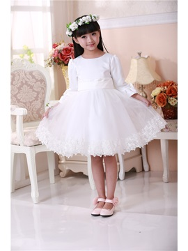 Cute Scoop Bowknot Sash Knee Length Long Sleeves Flower Girls Dress