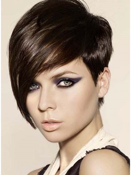 Custom Big Deep Side Part Pixie Haircut Remy Human Hair Full Lace Monofilament Top Cap Wig 8 Inches