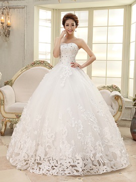 New Sleeveless Ball Gown Floor Length Pattern Wedding Dress