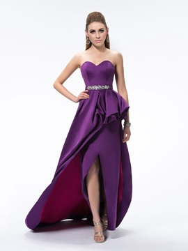 A Line Split Front Pick Ups Sweetheart Beading Sweep Train Evening Dress
