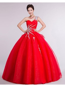 Stunning One Shoulder Crystal Ruffles Ball Gown Floor Length Wedding Dress