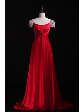 A Line Beadings Pleats Short Sleeves Sweep Train Floor Length Evening Dress