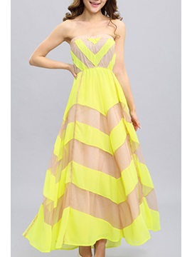 Double Deck Strapless Flowing Chiffon Dress