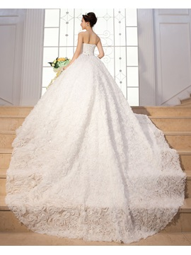 Luxurious A Line Floor Length Flower Sweetheart Lace Up Beading Wedding Dress