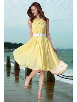 Chic Sleeveless Chiffon Bohemian Slim Dress