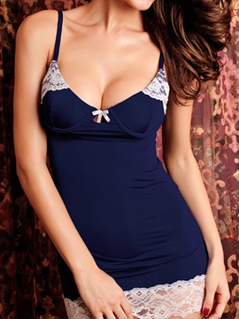 Blue Strap White Lace Edge Chemise