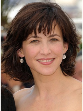 Custom Typical Sophie Marceau Hairstyle Shaggy Mid Length 100 Human Hair Monofilament Top Wig 12 Inches