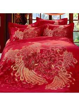 Dazzling Festival Peony And Phoenix Printed Red 100 Cotton Wedding 4 Piece Bedding Sets