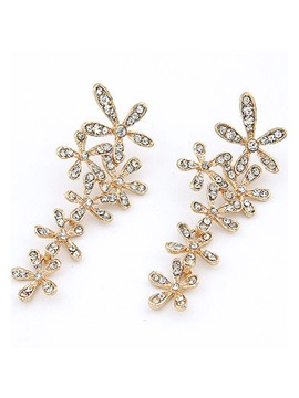 Shining Diamond Flowers Alloy Womens Earrings