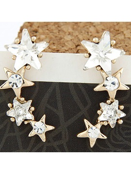 Elegant Zircon Five Pointed Star Alloy Womens Earrings