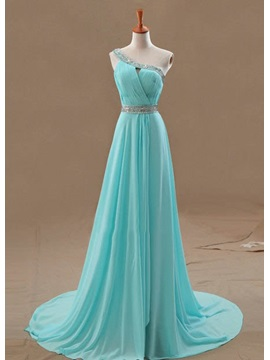Hot Selling A Line One Shoulder Beading Hollow Court Train Floor Length Evening Dress