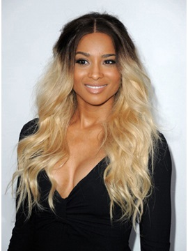Custom Ciara Long Light Wavy Ombre Hairstyle 100 Remy Human Hair Monofilament Top Wig 24 Inches