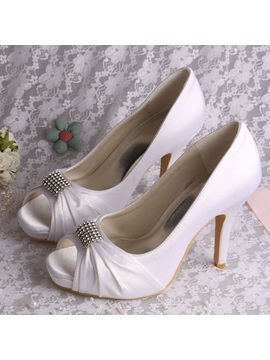 High Level Satin Open Toe Stiletto Heels Wedding Shoes