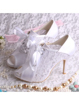 High Level Stiletto Heel Satin Open Toe Lace Wedding Shoes