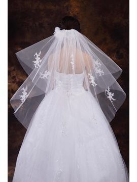 Two Layer White Appliques Wedding Veil