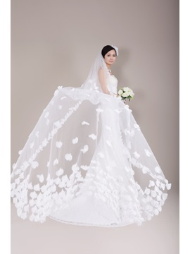 Great Cathedral Tulle Wedding Veil Embellished With Delicate Beaded Hand Made Organza Flowers