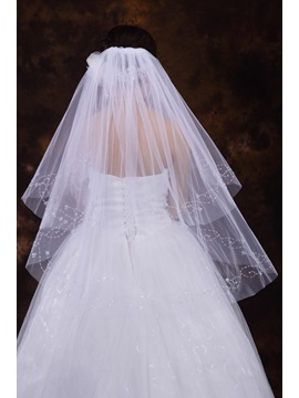 2 Layer Elbowwedding Veil With Beading Edge