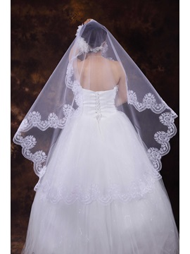 Charming Wedding Bridal Veil With Lace Applique Edge