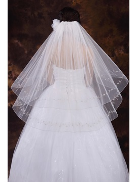 Simple Style Two Layer Elbow Wedding Veil With Embroidery