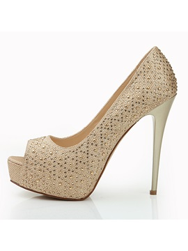 Marvelous Rhinestone Champagne Color Stylish Platform Peep Toe Pumps