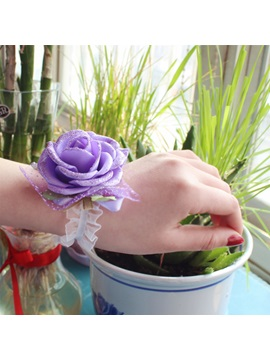 Brilliant Purple Cloth Flowers Wedding Bridal Wrist Corsage