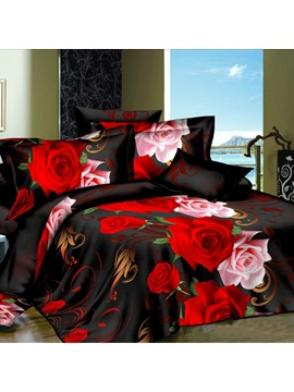 Vintage Black Rose Printed Plain 4 Piece Duvet Cover Set