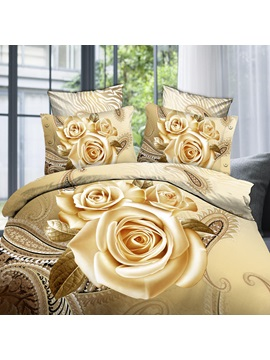 Unique 3d Painting Rose Printed 4 Piece Bedding Sets