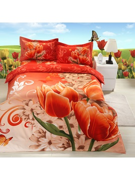 Top Quality Oil Painting 3d Print 4 Piece Bedding Sets