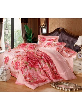 Warm Color Pirnt Pure Color 4 Piece Bedding Sets