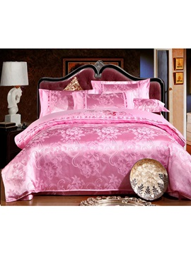 Luxury Pink Print Pure Cotton 4 Piece Bedding Sets