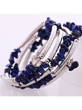 Cool Multi Layered Natural Stone Alloy Bangle