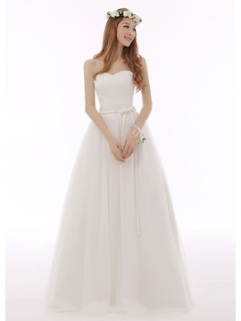 Simple Elegant Stapless Floor Length Lace Up Sashes Bowknot Wedding Dress