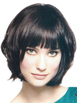 Extra Chic Bob Hairstyle Straight Bang 100 Human Hair Hand Tied Monofilament Top Wig About 10 Inches
