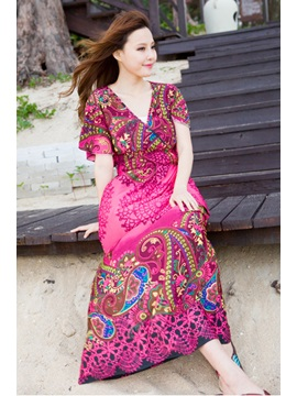 New Delicate Slim Print Bohemian Maxi Dress