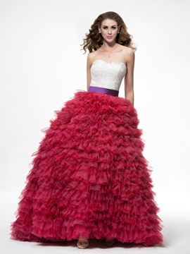 Lace Tiered Ruffles Lace Up Sweep Train Floor Length Ball Gown Dress