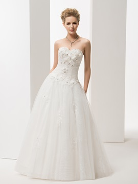 Enchanting A Line Sweetheart Sleeveless Floor Length Sweep Wedding Dress