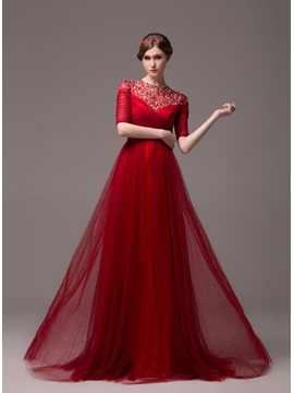 Vintage A Line Jewel Neck Beading Half Sleeves Lace Up Long Evening Dress
