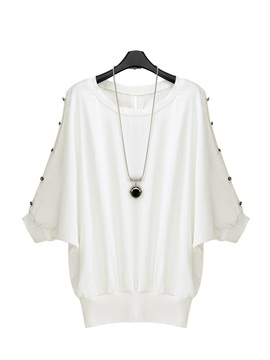 Buttons Nipped Waist Cut Outs Bat Sleeves White T Shirt