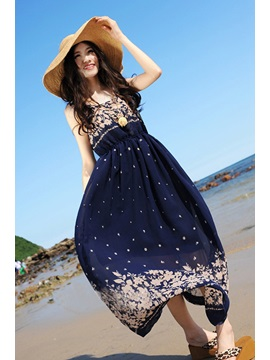Popular Bohemian Style Flowers Print Blue Chiffon Dress
