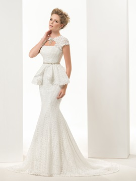 Glamorous Mermaid Trumpet Short Sleeves Lace Up Lace Sweep Brush Wedding Dress