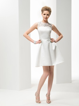 A Line Jewel Neck Short Mini Satin Wedding Dress