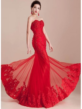 Hot Selling Amazing Mermaid Sweetheart Appliques Beading Lace Up Long Evening Dress