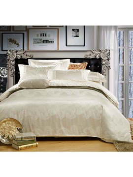 High End White Satin Jacquard 4 Piece Bedding Sets