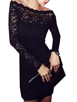 Charming Black Lace Boat Neck Long Sleeves Sheath Dress