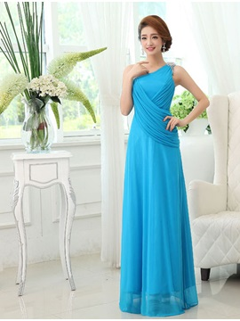 Classic Floor Length Sleeveless One Shoulder Ruffles Bridesmaid Dress